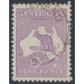 AUSTRALIA - 1916 9d pale violet Kangaroo, die II, 3rd watermark, used – ACSC # 26B