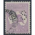 AUSTRALIA - 1919 9d pale violet Kangaroo, die IIB, 3rd watermark, perf. OS, used – ACSC # 27Bba