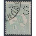 AUSTRALIA - 1916 1/- pale blue-green Kangaroo, die II, 3rd watermark, perf. OS, used – ACSC # 32Ab