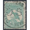 AUSTRALIA - 1920 1/- blue-green Kangaroo, die IIB, 3rd watermark, perf. OS, used – ACSC # 33Aba