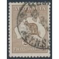 AUSTRALIA - 1916 2/- brown Kangaroo, 3rd watermark, used – ACSC # 37A