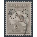AUSTRALIA - 1916 2/- dull brown Kangaroo, 3rd watermark, perf. OS, used – ACSC # 37Cba