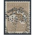 AUSTRALIA - 1916 2/- brown Kangaroo, 3rd watermark, perf. OS NSW, used – ACSC # 37Aba