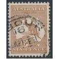 AUSTRALIA - 1929 6d chestnut Kangaroo, SM watermark, used – ACSC # 22A