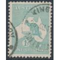 AUSTRALIA - 1929 1/- blue-green Kangaroo, SM watermark, used – ACSC # 34A