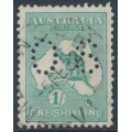 AUSTRALIA - 1929 1/- blue-green Kangaroo, SM watermark, perf. OS, used – ACSC # 34Ab