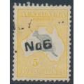 AUSTRALIA - 1932 5/- grey/yellow-buff Kangaroo, CofA watermark, used – ACSC # 46C