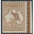 AUSTRALIA - 1913 2/- brown Kangaroo, 1st watermark, 'break in left frame', MH – ACSC # 35A(2)m