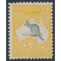 AUSTRALIA - 1913 5/- grey/chrome Kangaroo, 1st watermark, MH – ACSC # 42A