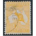 AUSTRALIA - 1913 4d orange Kangaroo, 1st watermark, CTO – ACSC # 15Awb
