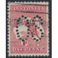 AUSTRALIA - 1913 1d red Kangaroo, 1st watermark, 'white flaw off Tasmania [state II]', used – ACSC # 2A(B)fa