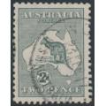 AUSTRALIA - 1915 2d grey Kangaroo, 2nd watermark, 'large scratch through map', used – ACSC # 6A(2)f