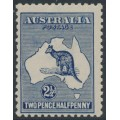 AUSTRALIA - 1917 2½d indigo Kangaroo, 3rd watermark, offset on reverse, MNH – ACSC # 11Cc