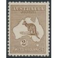 AUSTRALIA - 1916 2/- deep brown Kangaroo, 3rd watermark, MH – ACSC # 37D