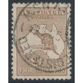 AUSTRALIA - 1916 2/- brown Kangaroo, inverted 3rd watermark, used – ACSC # 37Aa