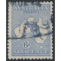 AUSTRALIA - 1921 6d bright ultramarine Kangaroo, die IIB, 3rd watermark inverted, used – ACSC # 20Aa