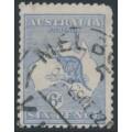 AUSTRALIA - 1921 6d blue Kangaroo, die IIB, 3rd watermark, 'broken leg on Kangaroo', used – ACSC # 20A(3)d