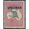 AUSTRALIA - 1919 £2 black/rose Kangaroo, 3rd wmk, SPECIMEN (type B), MH – ACSC # 56Bx