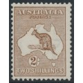 AUSTRALIA - 1913 2/- brown Kangaroo, 1st watermark, mint hinged – ACSC # 35A