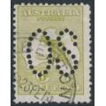 AUSTRALIA - 1913 3d olive Kangaroo, die II, 1st watermark, large OS, 'white flaw over T', used – ACSC # 12B(1)d + ba