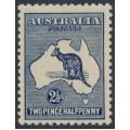 AUSTRALIA - 1917 2½d indigo Kangaroo, 3rd watermark, offset + heavy coastline, MH – ACSC # 11C(2)d + c
