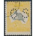AUSTRALIA - 1929 5/- grey/orange Kangaroo, SM watermark, p.OS, 'elongated Gulf', CTO – ACSC # 45A(D)h+wb