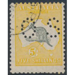 AUSTRALIA - 1929 5/- grey/orange Kangaroo, SM watermark, p.OS, 'elongated Gulf', CTO – ACSC # 45B(D)h+wb