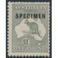 AUSTRALIA - 1924 £1 grey Kangaroo, 3rd watermark, o/p SPECIMEN (type C1), MNH – ACSC # 53Axd
