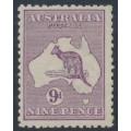 AUSTRALIA - 1919 9d violet Kangaroo, die IIB, 3rd watermark inverted, MH – ACSC # 27Aa