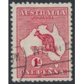 AUSTRALIA - 1913 1d deep red Kangaroo, 'two Tasmanias' [state I], used – ACSC # 3D(E)d
