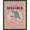 AUSTRALIA - 1932 10/- grey/pink Kangaroo, CofA watermark, SPECIMEN C sub-type 2, MH – ACSC # 50Axd