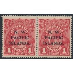 AUSTRALIA / NWPI - 1915 1d dull red KGV Head (G16) pair, 'flaw in crown top', MH – SG # 67a