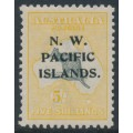 AUSTRALIA / NWPI - 1919 5/- grey/yellow Kangaroo, 3rd watermark, mint hinged – SG # 116