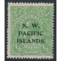 AUSTRALIA / NWPI - 1919 ½d green KGV Head, LM watermark, 'white spot RVT', MH – SG # 119