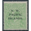 AUSTRALIA / NWPI - 1918 ½d dull green KGV Head, single watermark, 'flaw under TR', MH – SG # 102