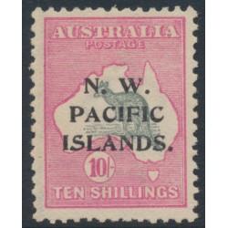 AUSTRALIA / NWPI - 1915 10/- grey/pink Kangaroo, 1st watermark, overprint type 6b, MH – SG # 84