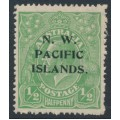 AUSTRALIA / NWPI - 1918 ½d green KGV Head, inverted LM watermark, MH – SG # 119w