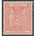NEW ZEALAND - 1940 £1 pink Coat of Arms, multiple NZ star watermark, MNH - SG # F203