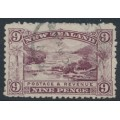 NEW ZEALAND - 1902 9d purple Pink Terrace, perf. 11, single NZ star watermark, used – SG # 314