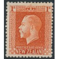 NEW ZEALAND - 1915 1/- vermillion KGV definitive, perf. 14:14½, MH – SG # 430c