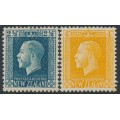 NEW ZEALAND - 1915 2½d blue & 4d yellow KGV definitives, perf. 14:13½, MH – SG # 419 + 421