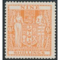 NEW ZEALAND - 1946 9/- brown-orange Arms Fiscal, multi NZ star watermark, MNH – SG # F200