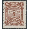 NEW ZEALAND - 1946 3d brown-lake Lighthouse Life Insurance issue, MNH – SG # L40