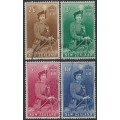NEW ZEALAND - 1954-1957 2/6 to 10/- QEII on Horseback set of 4, used – SG # 733d-736