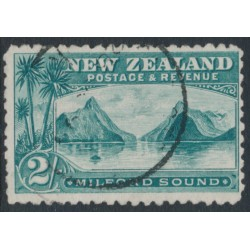 NEW ZEALAND - 1899 2/- blue-green Milford Sound, no watermark, perf. 11:11, used – SG # 269