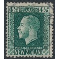 NEW ZEALAND - 1915 4½d deep green King George V definitive, perf. 14:14½, used – SG # 423a