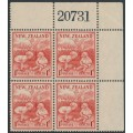 NEW ZEALAND - 1938 1d + 1d scarlet Health Stamp in a plate block of 4, MNH – SG # 610