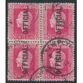 NEW ZEALAND - 1916 6d carmine KGV, perf. 14:14½, overprinted OFFICIAL, block of 4, used – SG # O102b