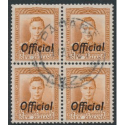 NEW ZEALAND - 1946 ½d brown-orange KGVI definitive, overprinted OFFICIAL, block of 4, used – SG # O135