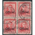 NEW ZEALAND - 1951 1½d scarlet KGVI definitive, overprinted OFFICIAL, block of 4, used – SG # O139